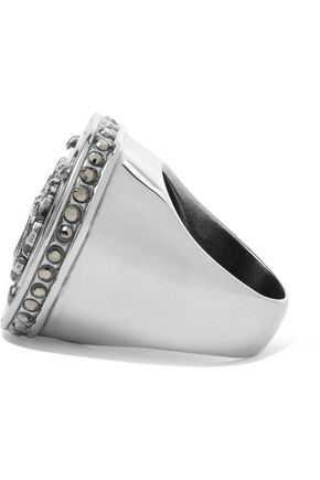 GIVENCHY Embossed silver-tone crystal ring