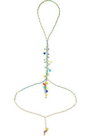 ROSANTICA Michelita pompom-embellished gold-tone quartz body chain