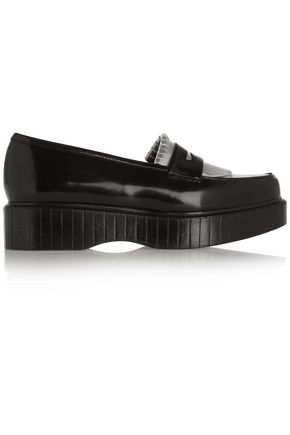 ROBERT CLERGERIE Pastek metallic glossed-leather platform loafers