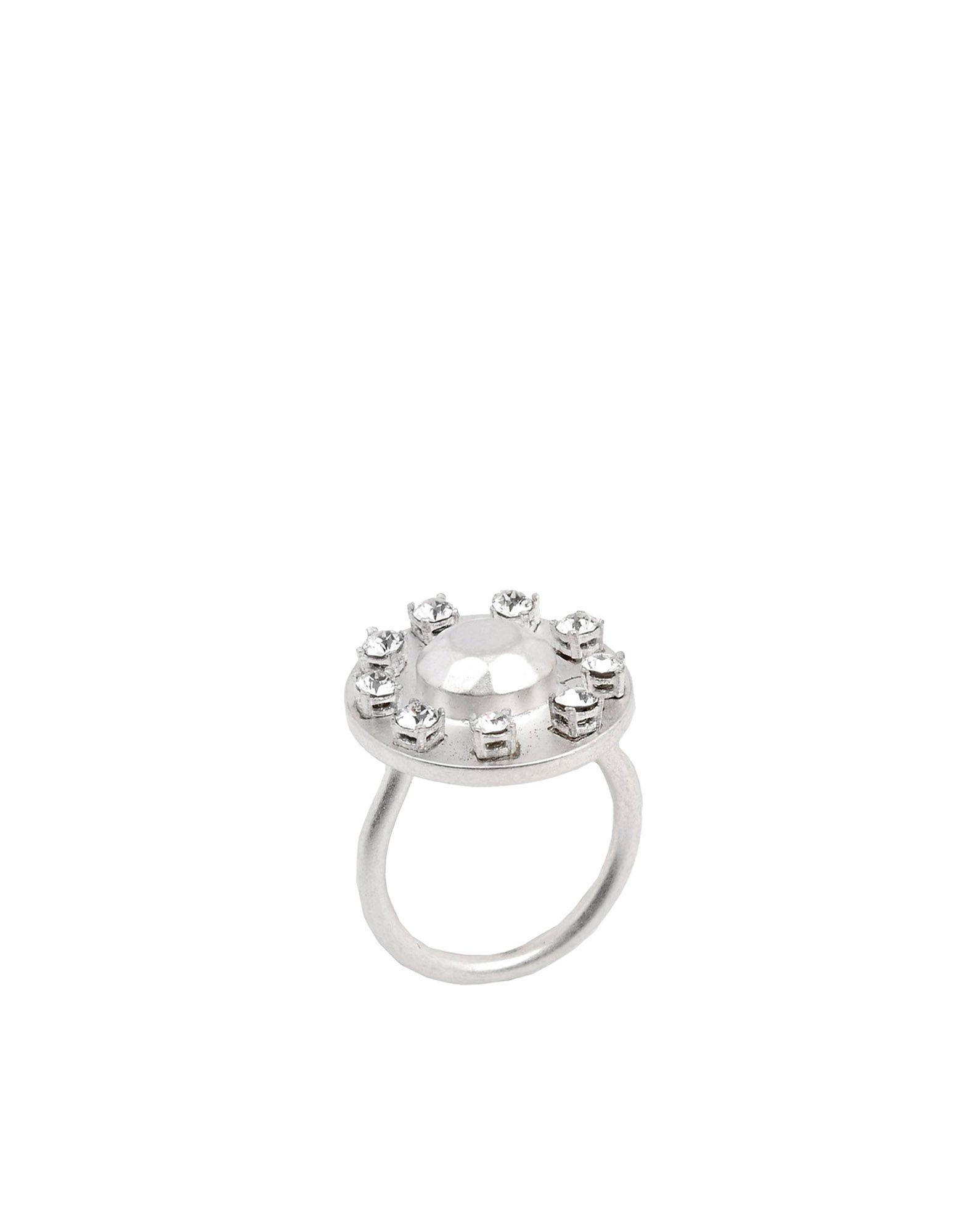 《セール開催中》MAISON MARGIELA レディース 指輪 シルバー S 真鍮/ブラス 100% / クリスタル