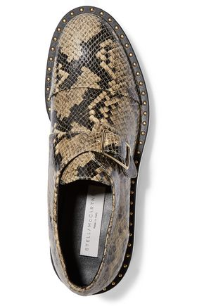 STELLA McCARTNEY Snake-effect glossed faux leather brogues