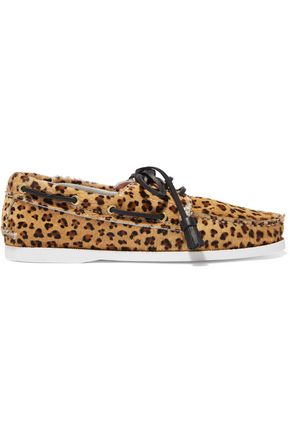 TOPSHOP UNIQUE Harpsden leopard-print calf hair boat shoes