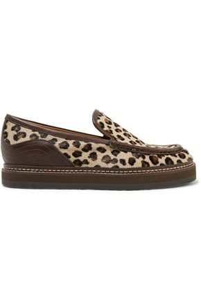 WOMAN LEATHER-TRIMMED LEOPARD-PRINT CALF HAIR LOAFERS ANIMAL PRINT