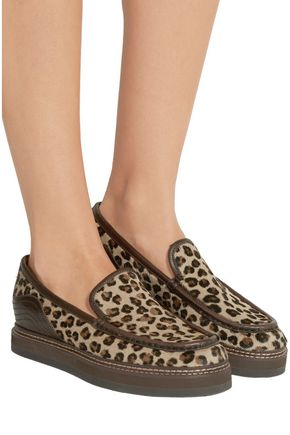 SEE BY CHLOÉ Leather-trimmed leopard-print calf hair loafers