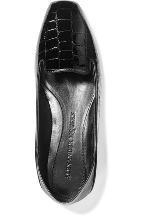 ALEXANDER MCQUEEN Croc-effect patent-leather loafers