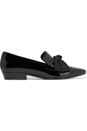 SAINT LAURENT Deven bow-embellished patent-leather loafers