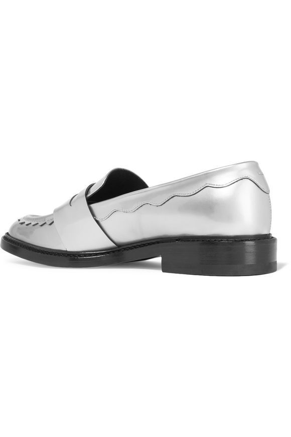 Scalloped metallic leather loafers | CHRISTOPHER KANE | Sale up to 70% off  | THE OUTNET