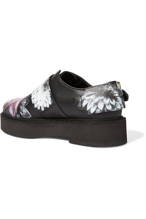 ALEXANDER MCQUEEN Printed leather platform loafers