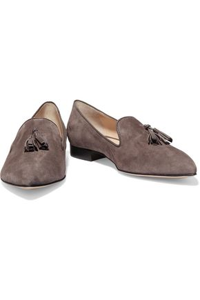 IRIS AND INK Tassel-trimmed suede loafers