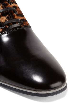 TOD'S Glossed-leather and leopard-print calf hair brogues