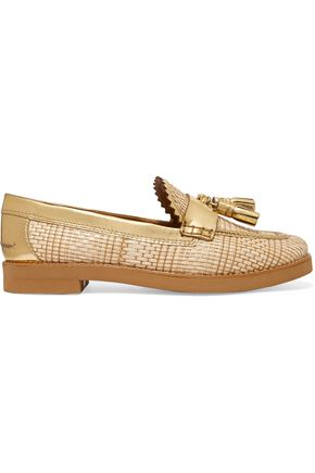 TORY BURCH Careen metallic leather-paneled woven loafers