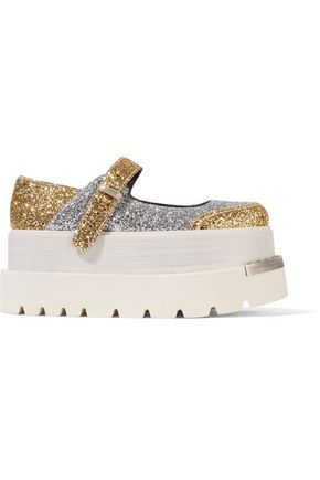 Glittered Leather Platform Brogues, Silver