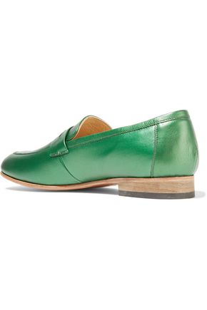 DIEPPA RESTREPO Penny metallic leather loafers