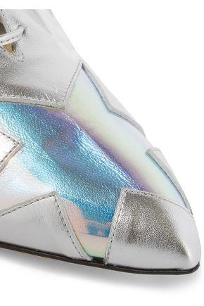 CHARLOTTE OLYMPIA Starman PVC-trimmed metallic leather brogues