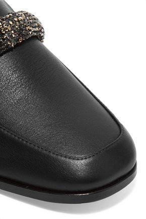 NEWBARK Melanie Swarovski crystal-embellished leather loafers