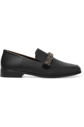 NEWBARK Melanie Swarovski crystal-embellished leather loafers