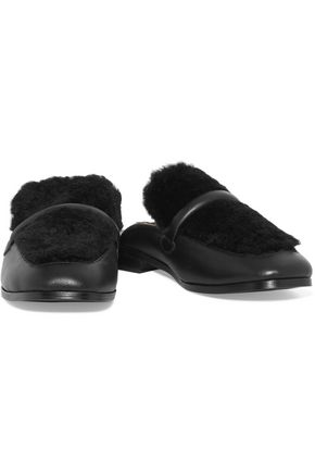 NEWBARK Melanie shearling and leather slippers