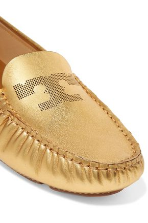 TORY BURCH Maynard metallic leather loafers