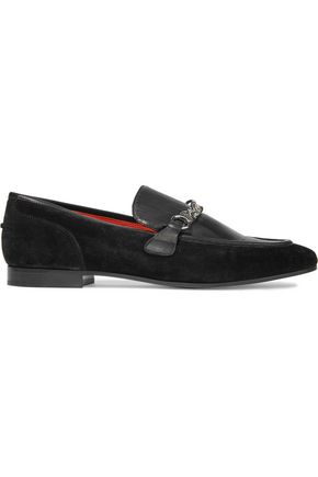 RAG & BONE Cooper chain-trimmed leather and suede loafers
