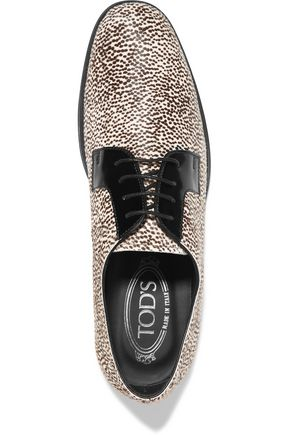 TOD'S Calf hair and patent-leather loafers