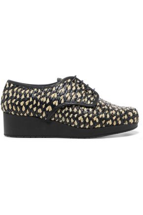 ROBERT CLERGERIE Raffia wedge brogues