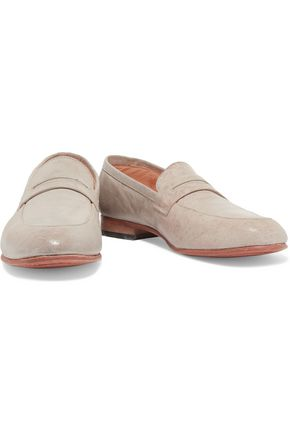 DIEPPA RESTREPO Penny textured-leather loafers