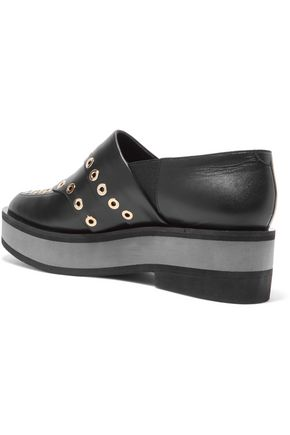 ROBERT CLERGERIE Eyelet-embellished leather loafers