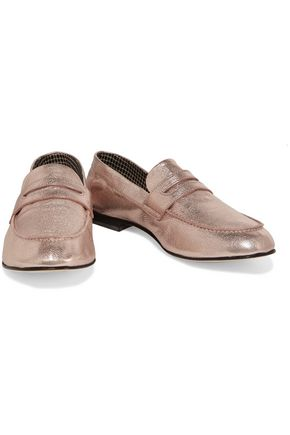 ROBERT CLERGERIE Metallic textured-leather loafers