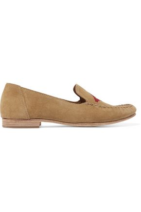 SOLUDOS Embroidered suede loafers