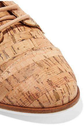 SCHUTZ Gabry cutout cork-effect leather brogues