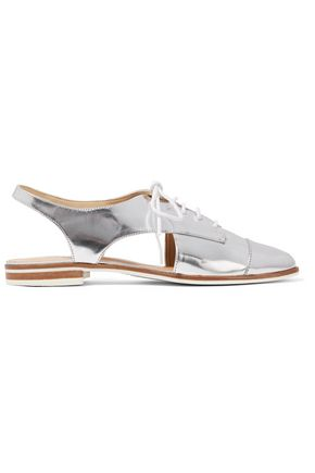 SCHUTZ Gabry cutout metallic leather brogues