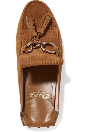 TOD'S Fringed collapsible-heel suede loafers