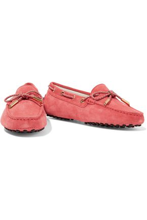 TOD'S Braided-trimmed suede moccasins