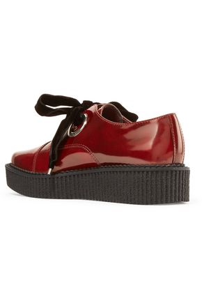 MARC BY MARC JACOBS Kent velvet bow-embellished patent-leather brogues