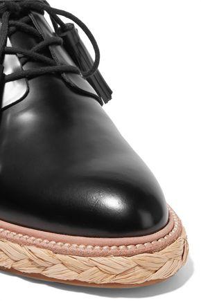 LOEFFLER RANDALL Glossed-leather espadrilles platform sneakers