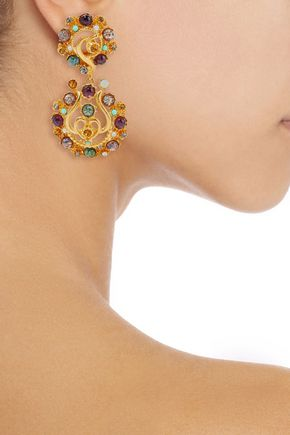 BEN-AMUN Gold-tone, stone and crystal clip earrings