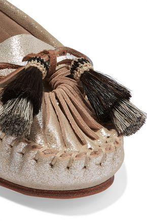 LOEFFLER RANDALL Metallic tasseled cracked-leather moccasins
