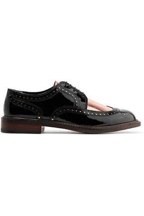 ROBERT CLERGERIE Roelk cutout metallic patent-leather brogues