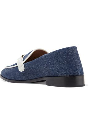 1d7018bd5bf ... NEWBARK Melanie leather-trimmed denim loafers