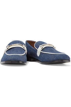 2b8cbd4a45c ... NEWBARK Melanie leather-trimmed denim loafers ...