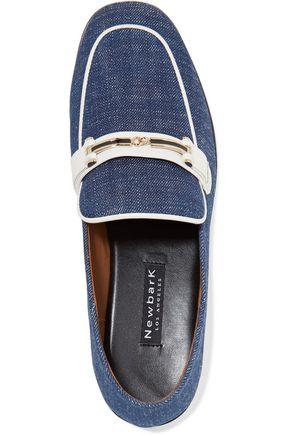 NEWBARK Melanie velvet-paneled patent-leather loafers