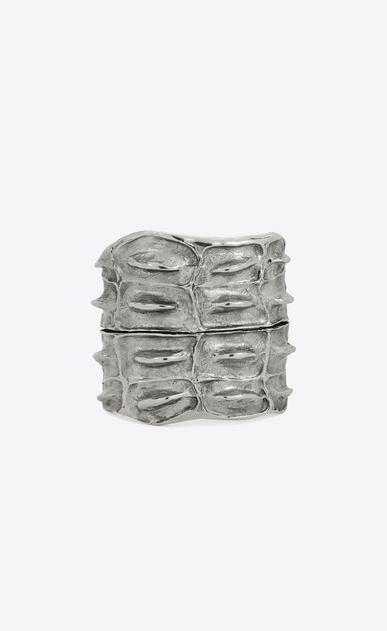 SAINT LAURENT Bracelets Woman CROC cuff bracelet in silver-toned brass with a crocodile-look texture a_V4