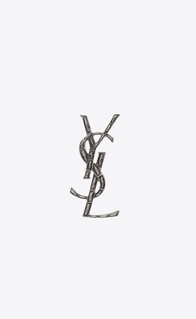 SAINT LAURENT Brooch D YSL OPYUM crocodile brooch in silver-toned brass a_V4