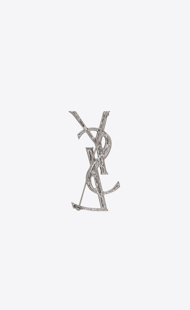 SAINT LAURENT Brooch D YSL OPYUM crocodile brooch in silver-toned brass b_V4