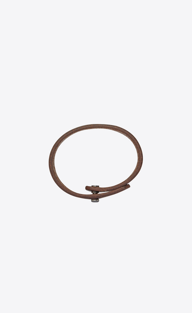 SAINT LAURENT Leather Bracelets Woman YVES bracelet in dark brown leather b_V4
