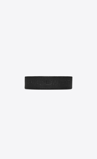 SAINT LAURENT Leather Bracelets Woman YVES bracelet in black leather a_V4