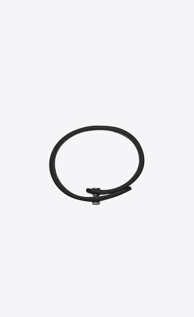SAINT LAURENT Leather Bracelets Woman YVES bracelet in black leather b_V4