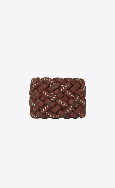 SAINT LAURENT Leather Bracelets Woman MARRAKECH cuff bracelet in plaited and studded brown leather a_V4