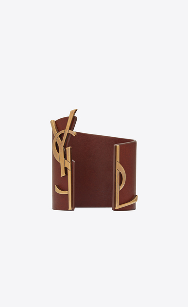 SAINT LAURENT Leather Bracelets Woman OPYUM MONOGRAMME cuff bracelet in brown leather and metal a_V4