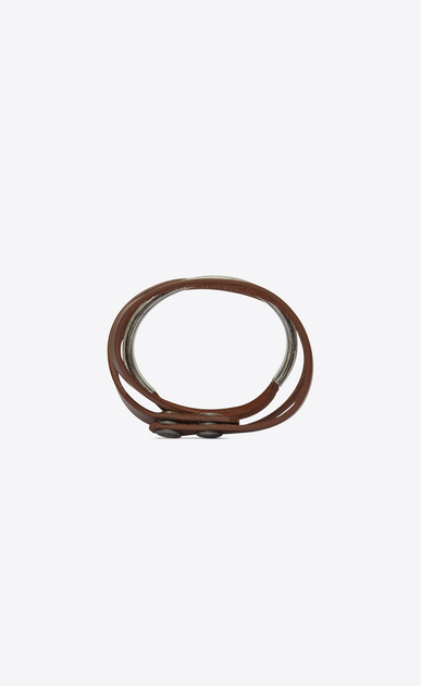 SAINT LAURENT Leather Bracelets Woman NOMADE three-loop bracelet in dark brown leather and metal b_V4